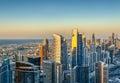 Beautiful modern city architecure at sunset. Aerial skyline of Dubai, UAE. Royalty Free Stock Photo