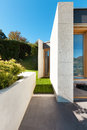 Beautiful modern house in cement detail veranda Stock Photography