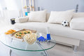 Beautiful modern living room with white sofa Royalty Free Stock Photo