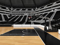 Beautiful modern sport arena for basketball with black seats