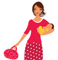 Beautiful mom with her newborn baby Royalty Free Stock Photos