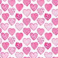 Beautiful monochrome, black and white seamless background hand drawn hearts. Pattern coloring book, design for holiday greeting ca