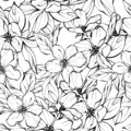 Beautiful monochrome seamless pattern with flowers. Black and white background