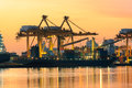 Beautiful of morning light in ship port loading container goods Royalty Free Stock Photo