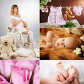 Beautiful mother with a newborn collage of pictures of pregnant women Stock Photos