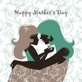 Beautiful mother silhouette with h Royalty Free Stock Photography
