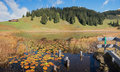 Beautiful mountain lake stelsersee in autumn Royalty Free Stock Photo