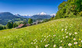 Beautiful mountain landscape in the bavarian alps berchtesgadener land germany panoramic view of with village of berchtesgaden and Royalty Free Stock Photo