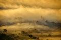 Beautiful mountain landscape in foggy morning in Alba, Romania Royalty Free Stock Photo