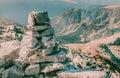 Beautiful mountain landscape peak big stones over the top of Peleaga mountain in national Retezat Park Romania Royalty Free Stock Photo
