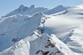 Beautiful mountain massif covered in snow at winter alps austria Stock Photos