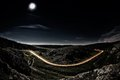 Beautiful Mountain Road By Night