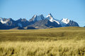 Beautiful mountains view across the field in the Andes, Cordillera Real, Bolivia Royalty Free Stock Photo