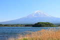 Beautiful Mt.Fuji mountain with clear blue sky from Lake Yamanakako Royalty Free Stock Photo
