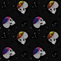 Skull, space, constellations. Seamless pattern. Design for office, fabric, clothing
