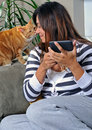 Beautiful multiracial woman getting a kiss - cat Royalty Free Stock Photo