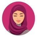 Beautiful muslim arab woman in hijab closing her eyes vector flat icon avatar. Beautiful face of arabic muslim woman. Portrait of