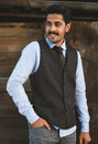 Beautiful mustache young man have fun outdoor Royalty Free Stock Photo