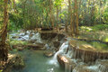 Beautiful muti layer waterfall deep forest in thailand Royalty Free Stock Image