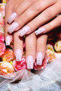Beautiful nails with art female hands manicure Stock Photo