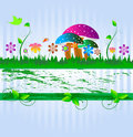 Beautiful natural background this is with flower mushroom and eco theme vector illustration Royalty Free Stock Photo