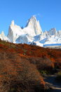 Beautiful nature landscape with Mt. Fitz Roy as seen in Los Glaciares National Park, Patagonia, Argentina Stock Photo