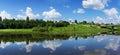 Beautiful nature panoramic scenery small rivers of russia kostromskaya area Stock Photos