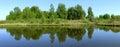 Beautiful nature panoramic scenery small rivers of russia kostromskaya area Royalty Free Stock Image