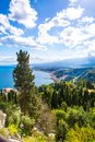 Beautiful nature of Sicily, Mediterranean sea near Taormina and Etna vulcano, aerial panoramic view. Italy. Royalty Free Stock Photo