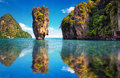 Beautiful nature of Thailand. James Bond island reflection Royalty Free Stock Photo
