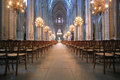 The Beautiful Nave of Cathedral Saint-Etienne in Bourges Royalty Free Stock Photo