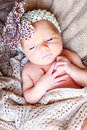 Beautiful new born girl baby with eyes open Royalty Free Stock Images