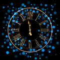 Beautiful New Year greeting card with blue glittering lights and a golden clock on black background
