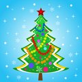 Beautiful new year tree on a blue background illustration Stock Photos
