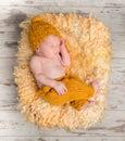 Beautiful newborn baby in wicker basket Royalty Free Stock Photo