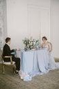The beautiful newly-married couple. Bridal fashion.