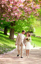 Beautiful newlywed couple having a stroll Royalty Free Stock Photo