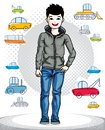 Beautiful nice young teenager boy posing fashionable casual clothes. Vector kid illustration. Childhood lifestyle clip art Royalty Free Stock Photo