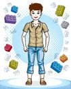Beautiful nice young teenager boy posing in stylish casual cloth Royalty Free Stock Photo