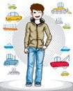 Beautiful nice young teenager boy posing wearing fashionable casual clothes. Vector pretty nice human illustration. Fashion theme Royalty Free Stock Photo