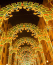 Beautiful night lights in fallas fest of valencia in calle sueca street spain Royalty Free Stock Photos