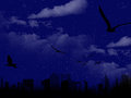 Beautiful night scene with city silhouette computer generated unrealistic moon in a landscape beautifully colored Royalty Free Stock Images