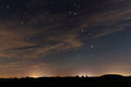 Beautiful night sky, with clouds and constellations Royalty Free Stock Photo