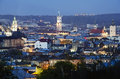 Beautiful night view of lvov scenery city from height ukraine Royalty Free Stock Images