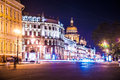 Beautiful night view of Nevsky Prospect and Isaac Royalty Free Stock Photo