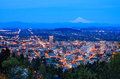 Beautiful night vista of portland oregon view from pittock mansion at Stock Photography