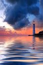 Beautiful nightly seascape with lighthouse Stock Photo