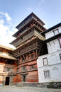 The beautiful nine storeys basantapur tower in nasal chowk courtyard hanuman dhoka durbar is situated central kathmandu and gets Stock Image
