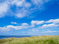 Beautiful north sea vacation image with dunes blue and sky Stock Image