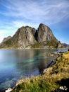 Norway Lofoten Fjord, Arctic Mountains Landscape Royalty Free Stock Photo